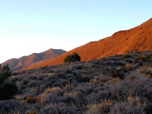 Sunset on Wildrose Peak from the Hummingbird Springs road.